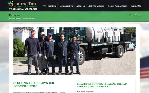 Screenshot of Jobs Page sterlingtree.com - Career Opporunities | Professional Tree Services and Lawn Care - captured Nov. 6, 2017