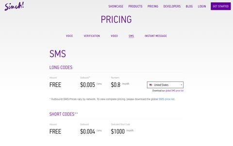 Screenshot of sinch.com - SMS Pricing | Sinch - captured March 19, 2016