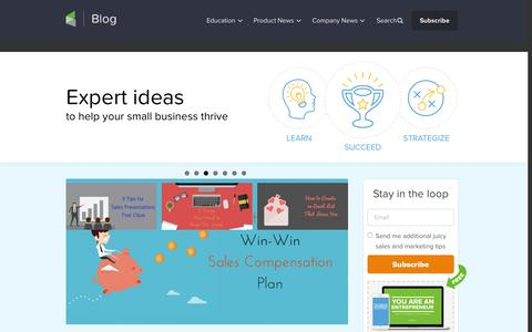 Screenshot of Blog infusionsoft.com - Small Business Ideas | Infusionsoft Blog Homepage - captured Sept. 14, 2015