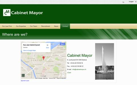 Screenshot of Contact Page cabinetmayor.ch - Cabinet Mayor - Contact - captured Oct. 1, 2014