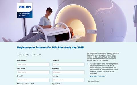Screenshot of Landing Page philips.com - MR-Sim Study Day 2018   Philips - captured Sept. 19, 2018