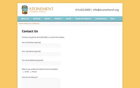 Screenshot of Contact Page at-onechurch.org - Contact Us | Atonement Lutheran Church - captured Nov. 2, 2014