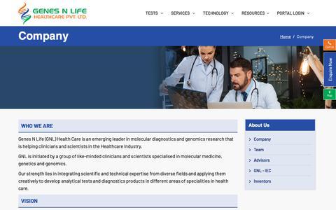 Screenshot of About Page genesnlife.com - Company - captured Nov. 10, 2018