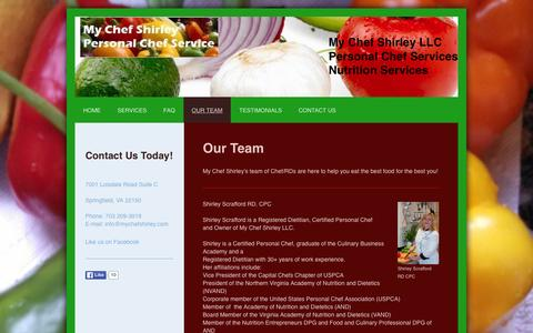 Screenshot of Team Page mychefshirley.com - My Chef Shirley provides Personal Chef and Nutrition Services to Northern Virginia. - Our Team - captured Feb. 22, 2016