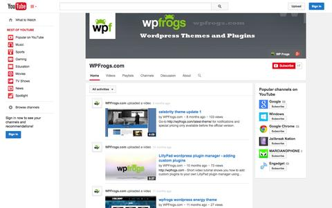 Screenshot of YouTube Page youtube.com - WPFrogs.com  - YouTube - captured Oct. 26, 2014