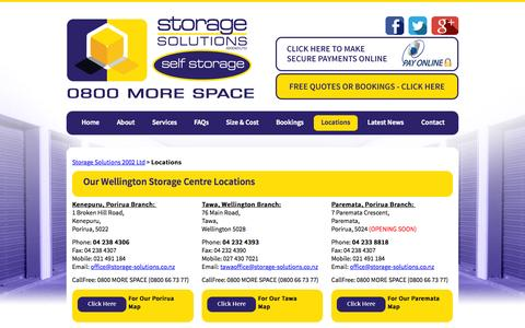 Screenshot of Locations Page storage-solutions.co.nz - Storage Solutions 2002 Ltd :: Locations - captured Aug. 15, 2015