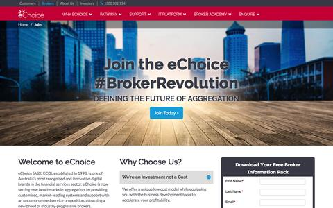 Screenshot of Signup Page echoice.com.au - Become an eChoice Mortgage Broker - captured July 6, 2016