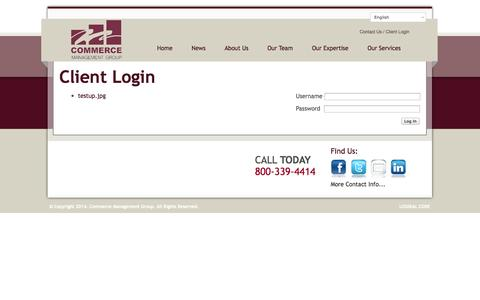 Screenshot of Login Page commerce-management.com - Client Login. - Commerce Management Group - captured Oct. 2, 2014