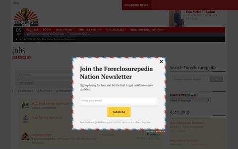 Screenshot of Jobs Page foreclosurepedia.org - Jobs | Foreclosurepedia - captured June 6, 2017