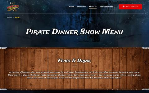 Screenshot of Menu Page piratesdinneradventure.com - Menu | Pirates Dinner Adventure - captured Jan. 6, 2020