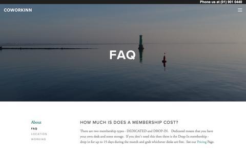 Screenshot of FAQ Page coworkinn.com - FAQ — Coworkinn - captured March 30, 2018