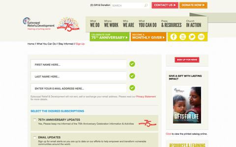 Screenshot of Signup Page episcopalrelief.org - Sign Up - captured Oct. 2, 2014