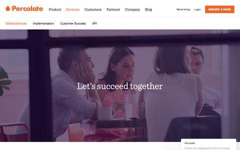 Screenshot of Services Page percolate.com - Percolate says… - captured Oct. 30, 2017