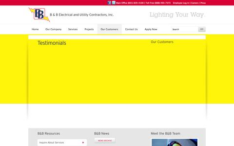 Screenshot of Testimonials Page bbecon.com - Testimonials - captured Oct. 1, 2014