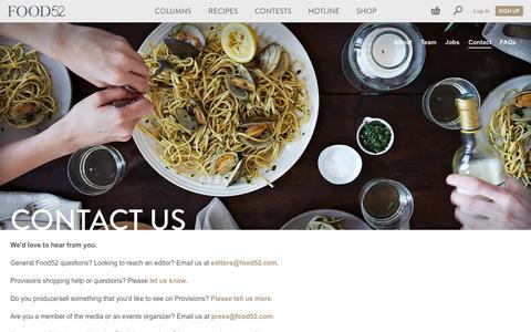 Screenshot of Contact Page food52.com - Contact Us - Food52 - captured Sept. 16, 2014