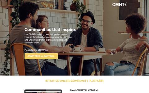 Screenshot of Landing Page cmnty.com - Online Communities that Inspire Interaction - captured Dec. 22, 2016