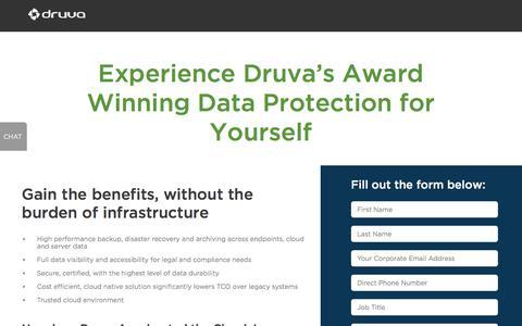 Screenshot of Trial Page druva.com - Druva Free Trial - Sign Up - captured Aug. 30, 2018
