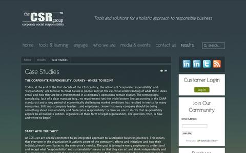 Screenshot of Case Studies Page thecsrgroup.com - case studies - captured Oct. 7, 2014