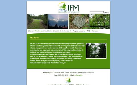 Screenshot of About Page ifmgt.com - Integrated Forest Management; forest management, consulting forester, turner, maine   » Who We Are - captured Oct. 6, 2014