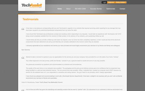 Screenshot of Testimonials Page techassist.ca - Testimonials | TechAssist - captured Oct. 9, 2014