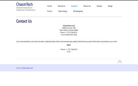 Screenshot of Support Page chasmtech.com - Support - captured Sept. 29, 2014