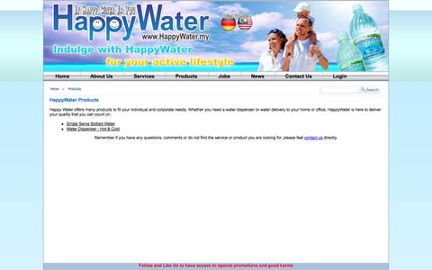 Screenshot of Products Page happywater.my - Our Products, Drinking Water Delivery, Bottled Water Malaysia - captured Oct. 2, 2014