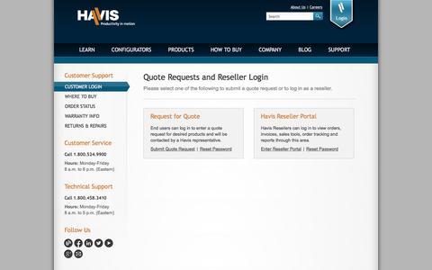 Screenshot of Login Page havis.com - Havis Customer Support | Quote Requests and Reseller Login - captured Oct. 5, 2016