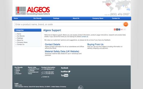 Screenshot of Support Page algeos.us - Algeos Support - captured March 3, 2016