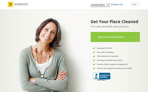 Screenshot of Home Page homejoy.com - Homejoy - captured July 12, 2014