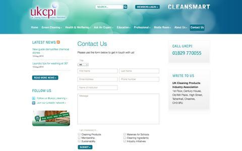 Screenshot of Contact Page ukcpi.org - Contact Us | UKCPI - captured Sept. 30, 2014