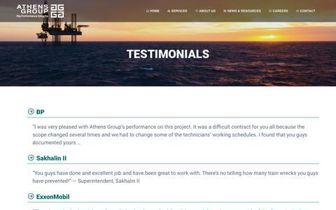 Screenshot of Testimonials Page athensgroup.com - Testimonials - Athens Group - captured July 31, 2018