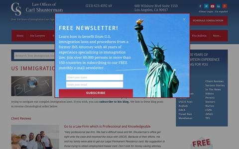 Screenshot of Blog shusterman.com - US Immigration Blog, Best Top Immigration Lawyers, Attorneys - captured May 17, 2019