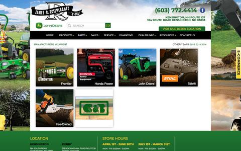 Screenshot of Products Page nhtractor.com - Inventory Showroom | James R. Rosencrantz & Sons | Kensington New Hampshire - captured July 8, 2018
