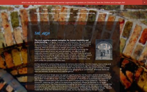 Screenshot of About Page archstreetpress.org - ABOUT Ń Arch Street Press - captured Dec. 26, 2015