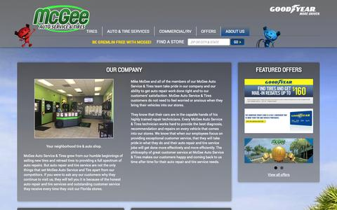 Screenshot of About Page mcgeetire.com - About McGee Auto Service & Tires in Lakeland, FL - captured Oct. 27, 2014