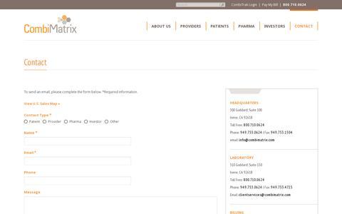 Screenshot of Contact Page combimatrix.com - CombiMatrix | Contact Us - captured July 20, 2014