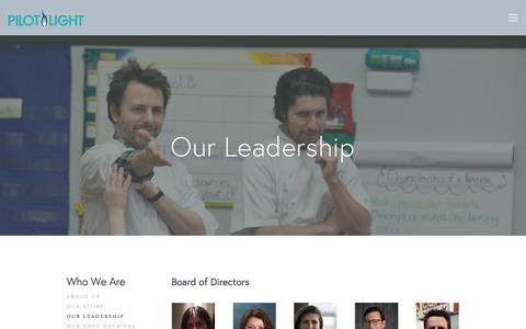 Screenshot of Team Page pilotlightchefs.org - Our Leadership — Pilot Light - captured Jan. 23, 2016