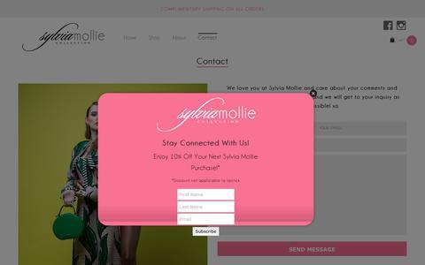 Screenshot of Contact Page sylviamollie.com - Contact - Sylvia Mollie Collection - captured Sept. 21, 2018