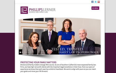Screenshot of Home Page Menu Page phillipslerner.com - Phillips Lerner | A Law Corporation - captured Oct. 2, 2014