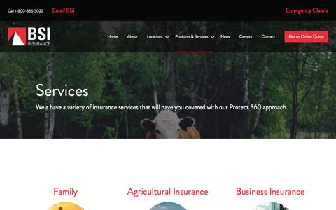 Screenshot of Services Page bsimb.com - Services | BSI Insurance - captured Nov. 22, 2016