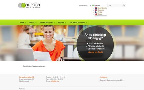 Screenshot of Press Page aurorainnovation.se - Start - Aurora Innovation - captured Oct. 4, 2014