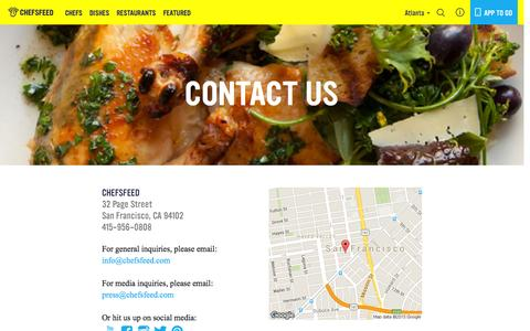 Screenshot of Contact Page chefsfeed.com - Contact Us | ChefsFeed - captured Nov. 14, 2015
