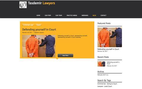 Screenshot of Blog tasdemirlawyers.com.au - Defending yourself in Court - captured June 12, 2017