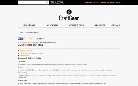 Screenshot of Support Page craftgeer.com - Customer Service - captured Oct. 27, 2014