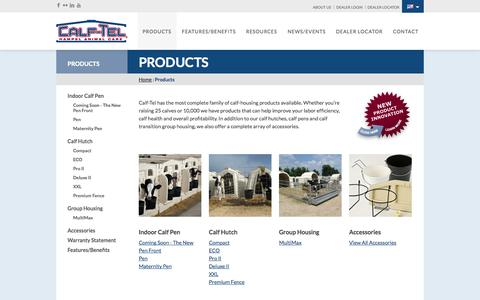 Screenshot of Products Page calftel.com - Products - Calf-Tel - captured Sept. 26, 2014
