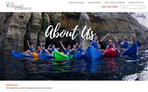 Screenshot of About Page classicjourneys.com - About Us - We Love All Things Travel -  Classic Journeys - captured July 16, 2018