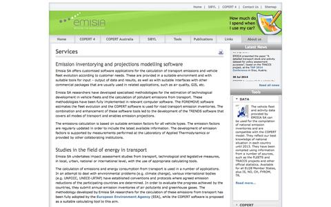 Screenshot of Services Page emisia.com - Services - captured Oct. 2, 2014