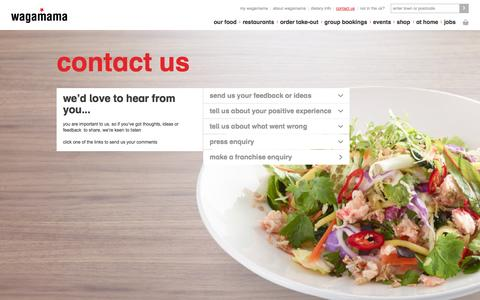 Screenshot of Contact Page wagamama.com - contact us | contact wagamama - captured Sept. 22, 2014