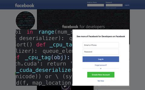 Screenshot of About Page facebook.com - Facebook for Developers - Home | Facebook - captured Nov. 20, 2019
