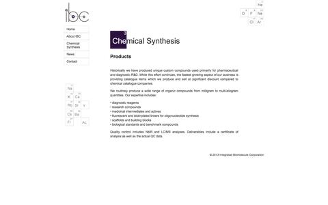 Screenshot of Products Page integratedbiomolecule.com - Chemical Synthesis: Products - captured Oct. 6, 2014